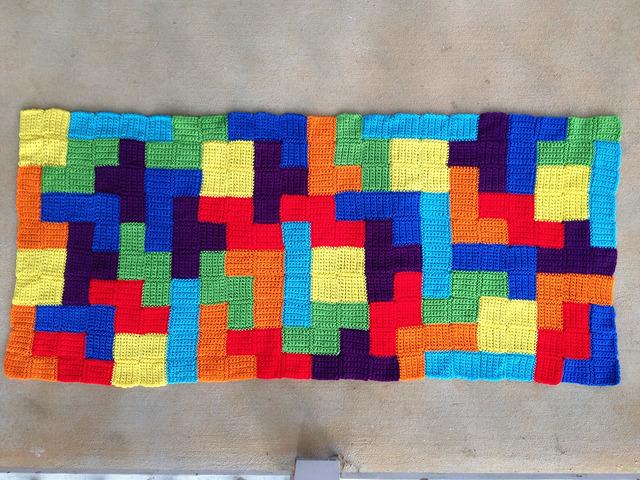 crochet tetris panel blocked