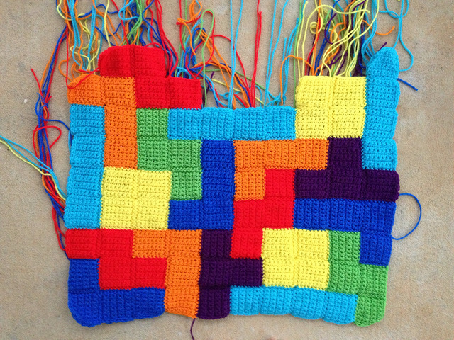 tetris crochet blanket