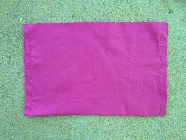 pink fabric lining for a crochet purse