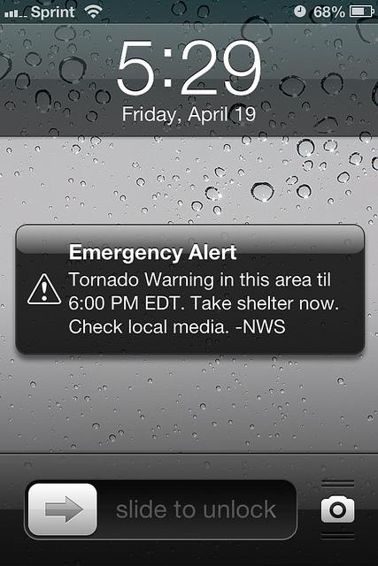 tornado warning emergency alert