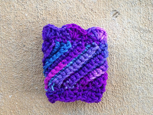 purple crochet coffee cup cozy