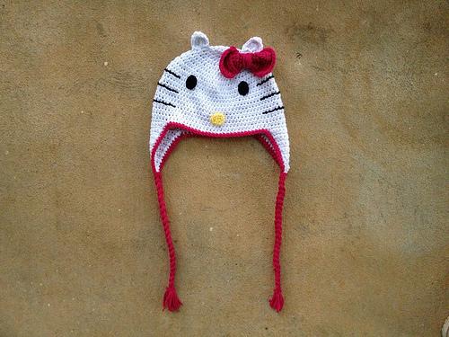 crochetbug, hello kitty inspired crochet chemo cap, crochet bow, crochet hat, crochet cap