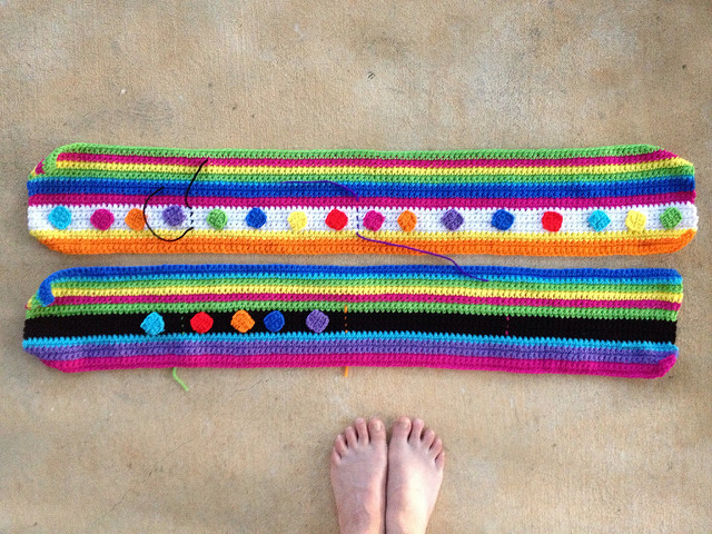 two crochet rectangles for either side of a nine panel crochet blanket
