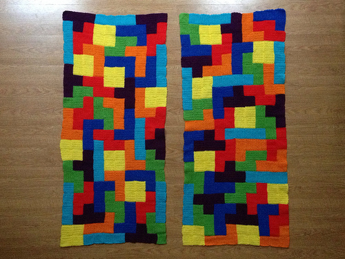 Two completed crochet tetris panels