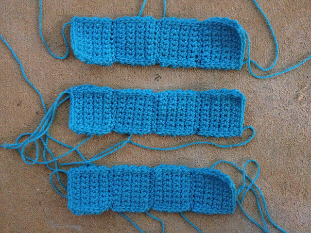 three crochet tetrominos