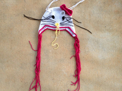 hello kitty inspired crochet chemo cap