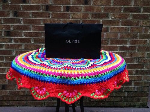 crochetbug, google glass, outdoor crochet office, circular crochet tablecloth