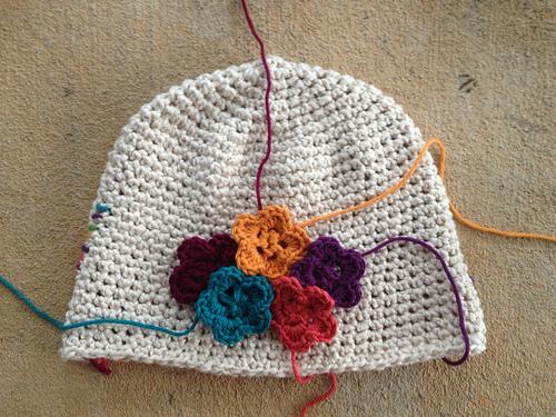cotton crochet chemo cap with crochet flowers