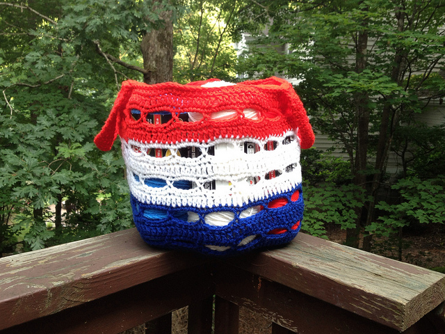 The Tricolore crochet stash basket, one of what might be too many,  in its natural habitat