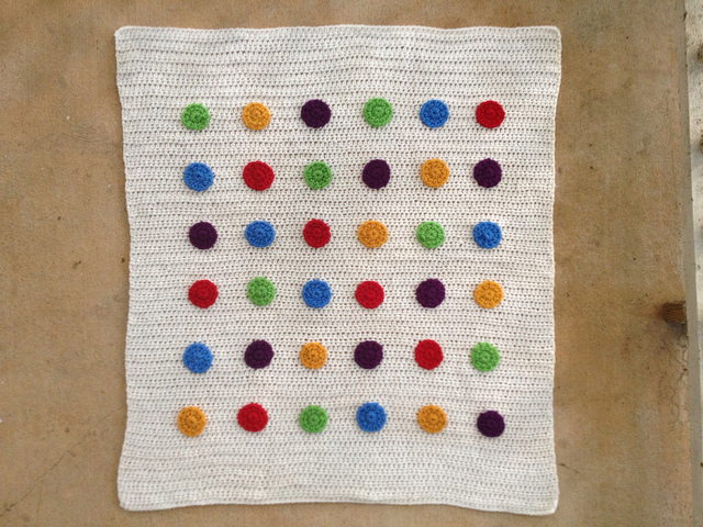 crochet blanket with crochet dots