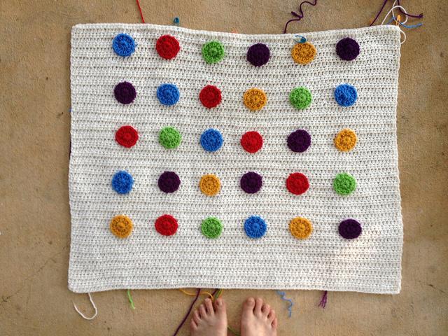 crochet dots, crochet blanket