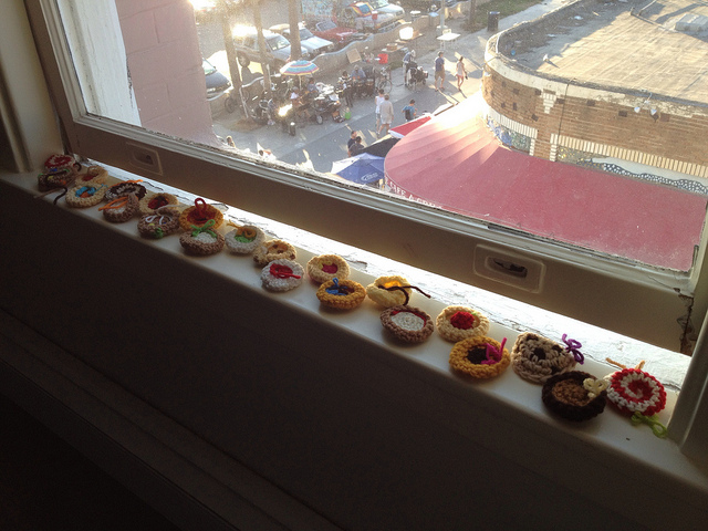 crochet cookies overlooking Venice Beach