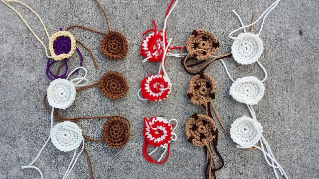 twelve crochet cookies