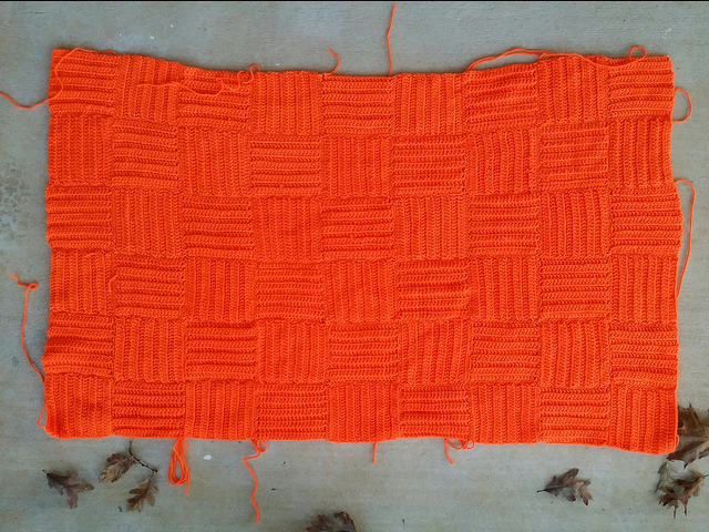 orange crochet afghan