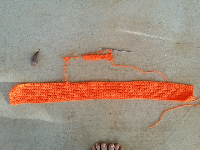 orange crochet fabric
