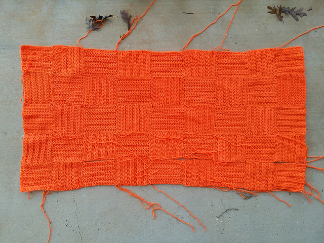 orange crochet blanket