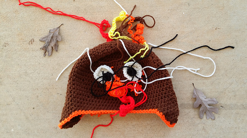 The turkey hat-to-be with all of the pieces ready to be assembled