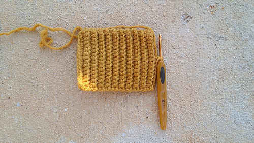 Victorian texting crochet glove made with gold vintage yarn