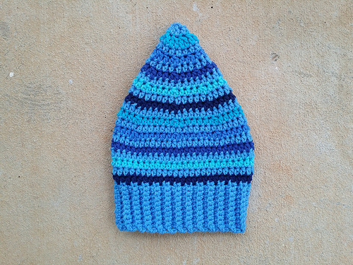 A blue stash-busters hat sans braid