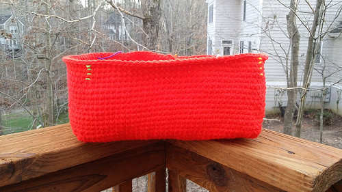 red crochet basket