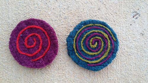 Both sides of a future felted table coaster as the salvage work continues