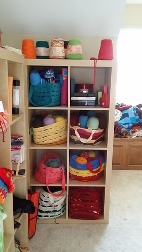 crochet stash baskets in ikea cubbies