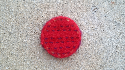 felted crochet table coaster