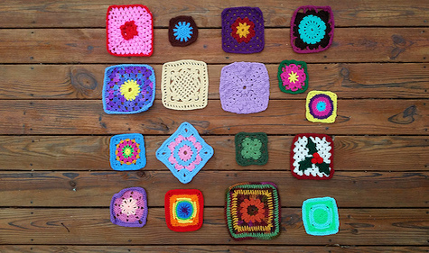 A colorful assortment of crochet squares