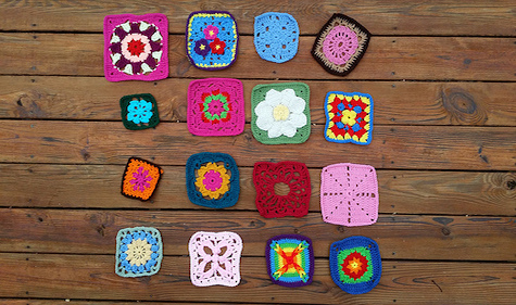 A collection of colorful crochet squares