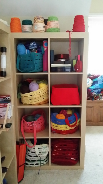 crochet bakset in an Ikea cubby