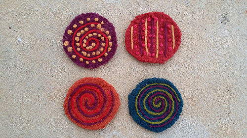 crochet table leg coasters