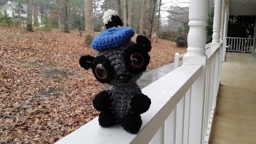 Coltrane the amigurumi lemur gets a beret