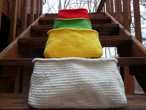 four crochet baskets