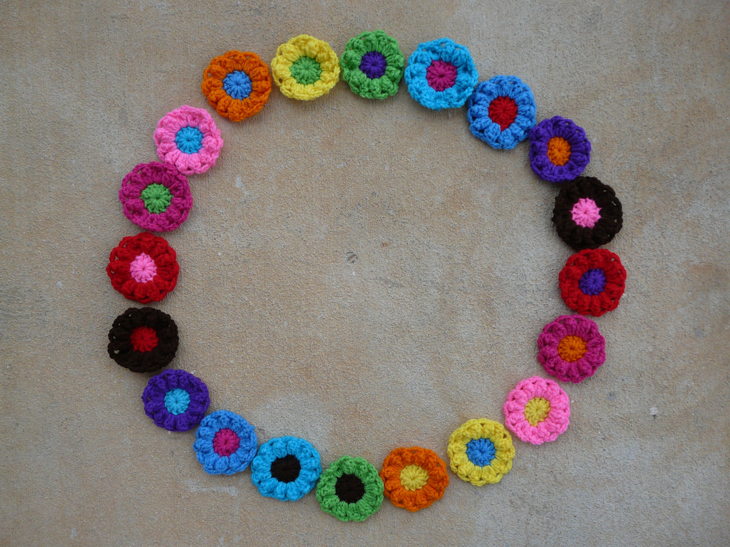 Circle of crochet flowers