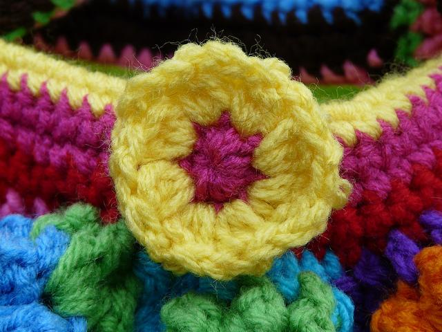 crochet flower button crochet flower purse