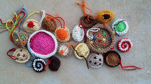 arrangement of crochet cookies