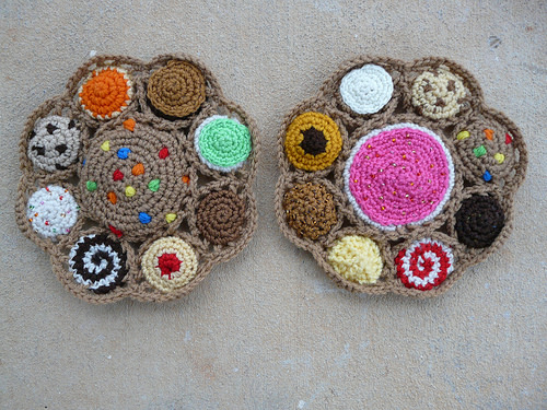 Completed crochet cookie motifs