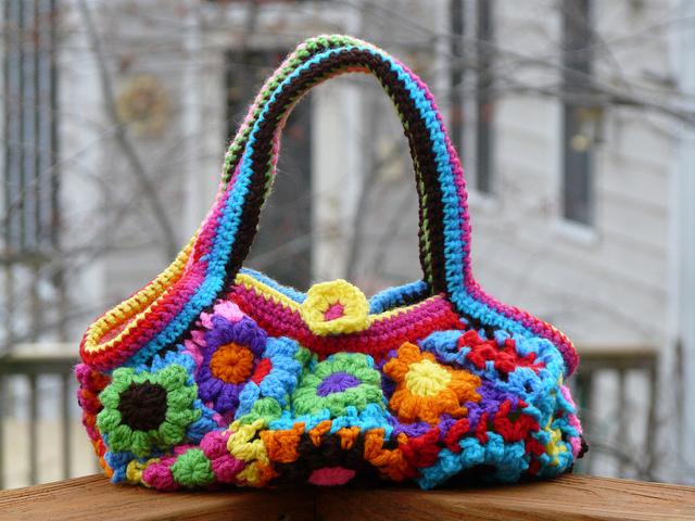 crochet flower crochet bag