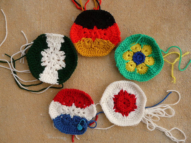 five crochet hexagons for a crochet soccer ball celebrating the world cup