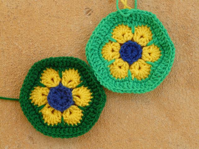 brazil flag crochet hexagons for a crochet soccer ball celebrating the world cup