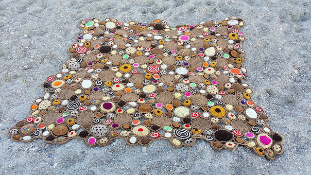 a crochet cookie crochet blanket at Wrightsville Beach