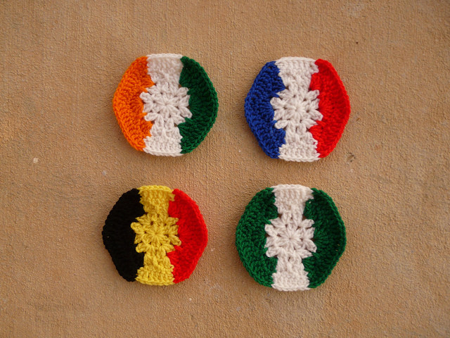 crochet hexagons for a crochet soccer ball celebrating the 2014 world cup