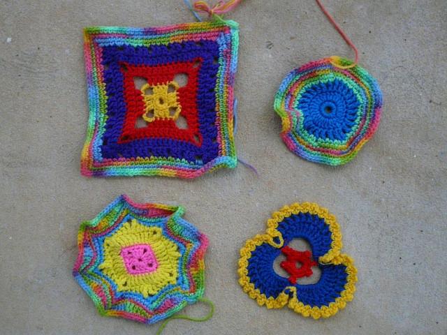 psychedelic crochet motifs