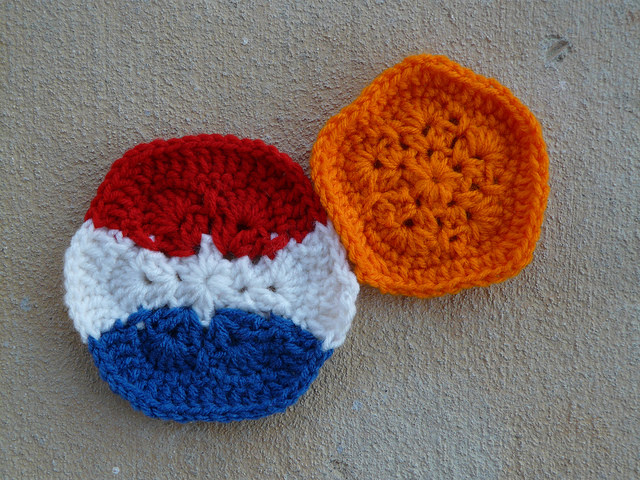 Netherlands inspired crochet hexagon and crochet pentagon for a crochet soccer ball