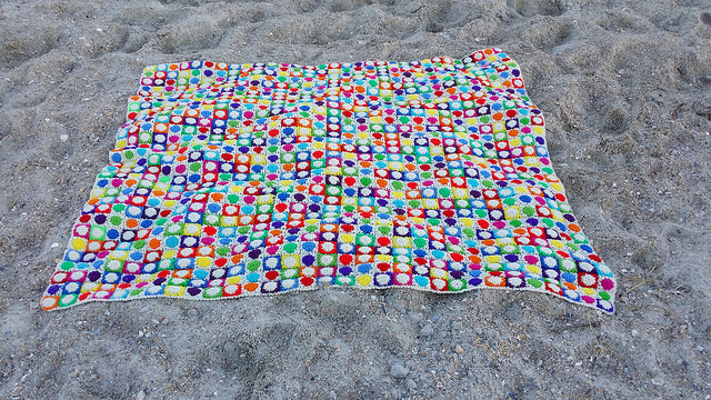 a crochet hilbert curve afghan at Wrightsville Beach