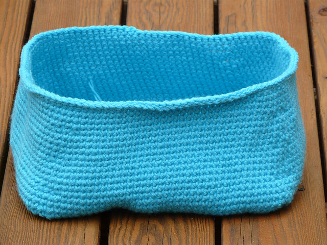 Turqua crochet basket for Ikea Expedit