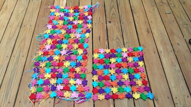 two crochet flower shawls
