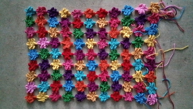 six petal crochet flower shawl