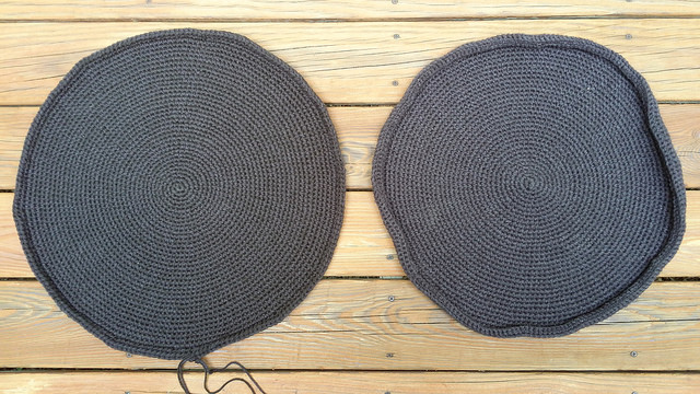 two large crochet circles