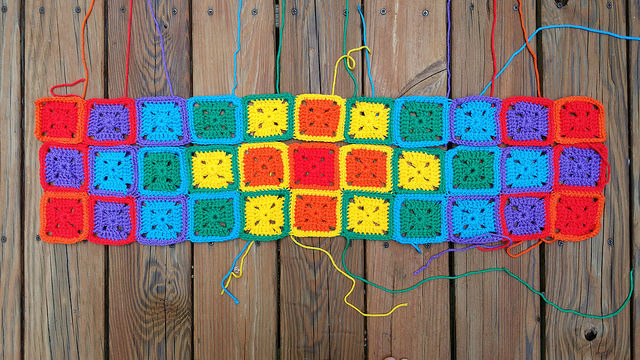 a rainbow of crochet squares
